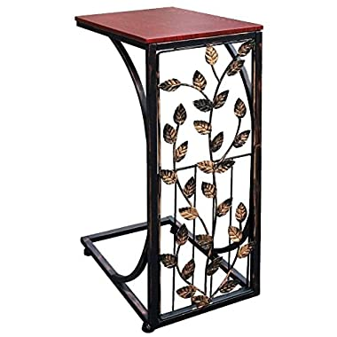 Side Sofa and Snack Table, Small - Elegant Leaf Design - Slides Up To Your Sofa, Ideal For Keeping Your Snacks, Drinks and Phone At Easy Reach - Functional and Sturdy - Metal, Dark Brown Wood Top