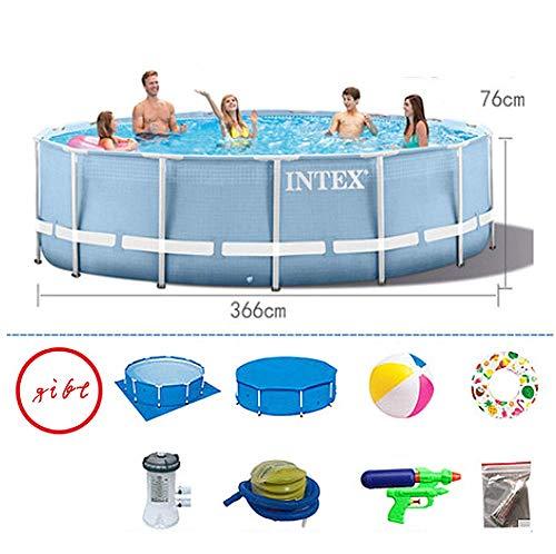 Zestaw basenowy ze stelażem z okrągłymi rurkami stalowymi, prezent na lato, z dużym uchwytem, dla dzieci i dorosłych, 6503 l, odporny na rozerwanie materiał PCW o jakości artykułów spożywczych, 366 x 76 cm