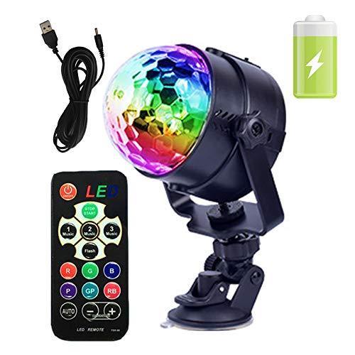 GCBTECH LED Disco Partylicht Discokugel, Licht Beleuchtung Ball 8 Farbe RGB Tonsteuerung Stimmungslicht für Hochzeit Feste Dekoration Bars Club Party, Indoor, Outdoor(mit Fernbedienung und batterie)