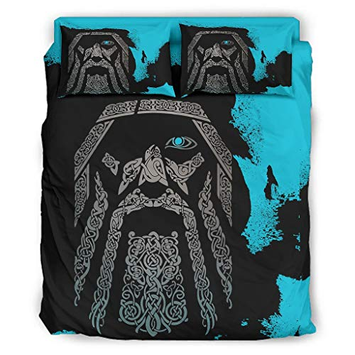Lind88 Juego de 4 fundas de edredón y fundas de almohada de color azul vikingo, de 228 x 228 cm