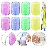 Seife Papier Seifenblätter, 8 Boxen Einweg Papier Seife Mini Tragbar Paper Soap mit Kunststoffbox...