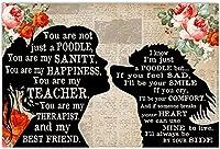 キャンバス絵画40x60cmフレームなし犬のポスター女の子とプードルシャドウレッドあなたは私の正気の幸福あなたは私の先生です私のセラピスト私の親友