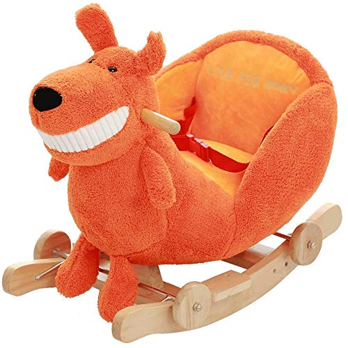 Review XINGXIANYIGOU Baby Rocking Horse, Children's Wooden Horse Solid Rocking Horse Rocking Chair Early Education Baby Rocking Cradles Music Children's Toys
