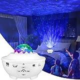 Proyector Estrellas,estrella Nubes Lampara Proyector,10 Modos Proyector de Luz Estelar LED Color Reproductor de Música, con Bluetooth/Temporizador/Remoto,Romántica luz de la Noche (Blanco)