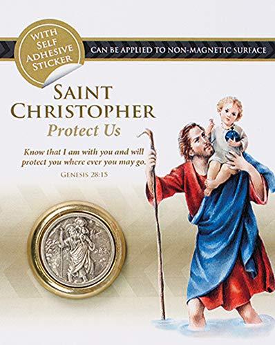 Sint Christopher Magnetisch/Sticky Auto Dash Plaque ~ Medaille (Koelkast Magnet)