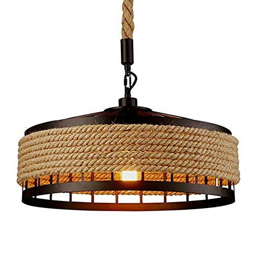 Generic Savada Pendelleuchte Vintage, Retro Industrie Schmiedeeisen Hängeleuchte Decken Hängelampe Rustikal Hanfseil Rund Lampe für Lofts, Hallen, Bars