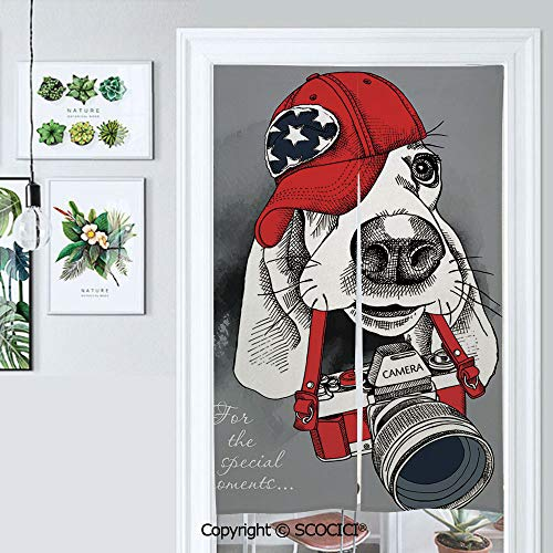 PUTIEN Japanese Noren Doorway Curtain Portrait of A Dog Basset Hound in Red Cap with Camera On Gray Backgrou 34
