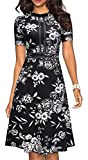 HOMEYEE Women's Chic Crew Neck Party Homecoming Aline Dress A135(8,Black Floral #2)