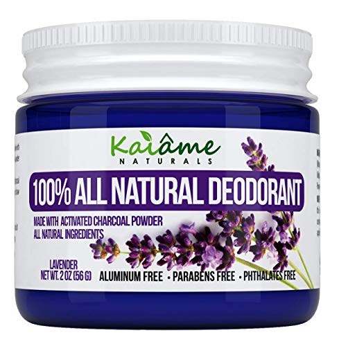 Kaiame Naturals Natural Deodorant (Lavendar) with Activated Charcoal Powder, All Natural and Organic Ingredients, No Aluminum, Parabens, or Phthalates