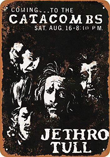 Carlena 1969 Jethro Tull in Houston Blechschild, Vintage, Folien-Poster für Geschäft, Bar, Zuhause, Wanddekoration, 20,3 x 30,5 cm