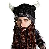 Beard Head Viking Pillager Beard Beanie - Funny Knit Horned Hat and Fake Beard