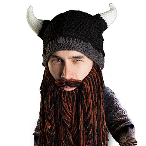 Beard Head Viking Pillager Helmet – Funny Knit Horn Hat and Fake Beard Costume