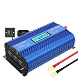 1500W Pure Sine Wave Power Inverter DC 12v to AC 110V-120V with Remote Control LCD Display and 4.8A Dual USB Ports 3 AC Outlets for Home RV Truck by VOLTWORKS
