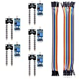kuman 5PCS Soil Moisture Sensor Kit Compatible with Raspberry pi Arduino Mega 2560 with 10PIN Female to Female Jump Cables 20PIN Male to Female Dupont Jump Cable Automatic Watering System KY70