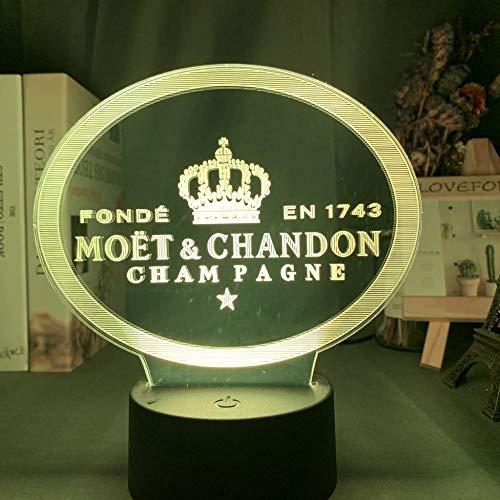 Lámpara de ilusión de Moet & Chandon con luz de noche LED alimentada por batería para decoración de sala de Bar lámpara de mesa cambio de color-7_Colors_No_Remote
