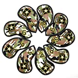 Golf Iron Covers,CAMO Golf Iron Head Covers Leather Iron Covers Set 9pcs Iron Headcovers,Golf Club Head Covers for Iron with Magic Tape Fit Taylormade M2 M7,Titleist 917,Callaway Epic Iron 4 5 6 7 8 9