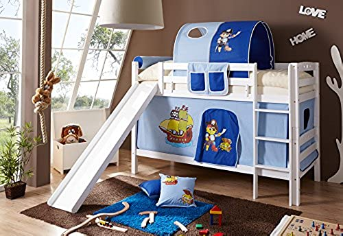 Etagenbett mit Rutsche Doppelbett Lupo Buche massiv Weißs mit Farbauswahl, Vorhangstoff Pirat Hellblau Dunkelblau