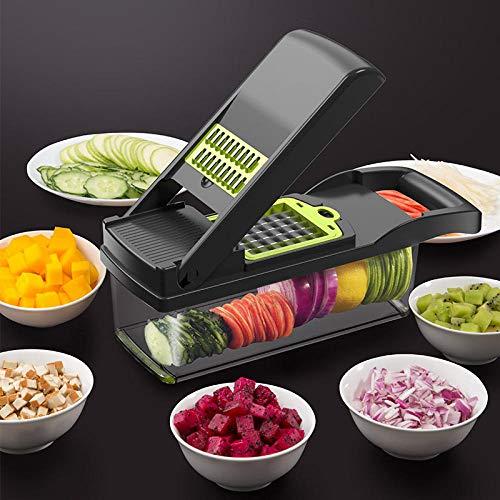 Promworld Râpe à légumes Spiralizer,Artefact de découpage en dés, Dispositif de Coupe de Pommes de Terre ménager-Gris,Hachoir à râpe à Carottes