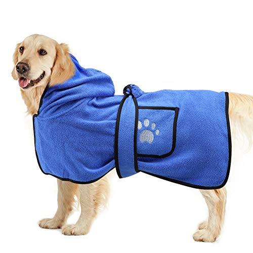 Vanansa Hundebademantel für kleine mittelgroße und große Hunde, Weicher Dryup Cape aus Mikrofaser, Schnell Trocknend Extra Saugfähig Komfortabel Anschmiegsam Bademantel - Blau