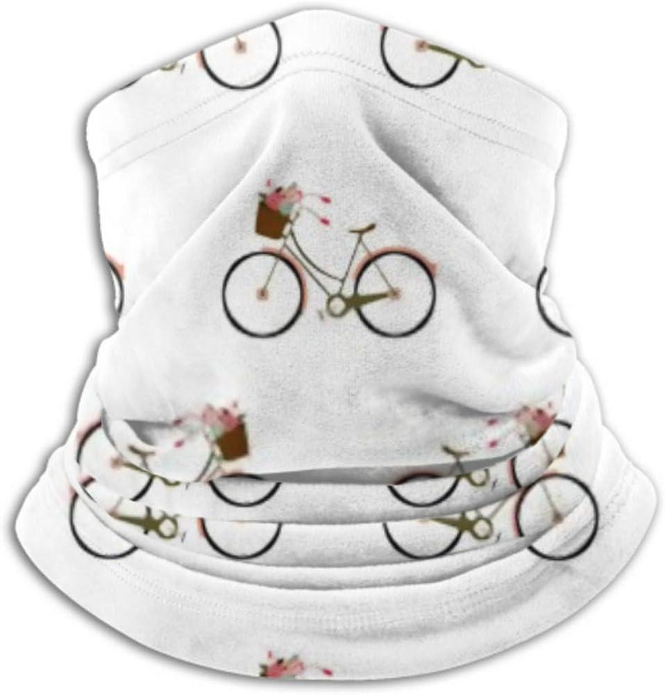 Fleece Neck Warmer ,multifunctional Vector Pattern Flowers Bicycle Scarf,Neck Gaiter, Neck Cap, Neck Scarf, Balaclava, Headwear, Bandana,