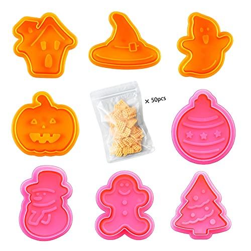 Set di 8 pezzi di stampi per biscotti, Stampi Biscotti conestrattore, Tagliabiscotti con Stampa Natalizia Halloween, utilizzato per la cottura di biscotti accessori da cucina per biscotti