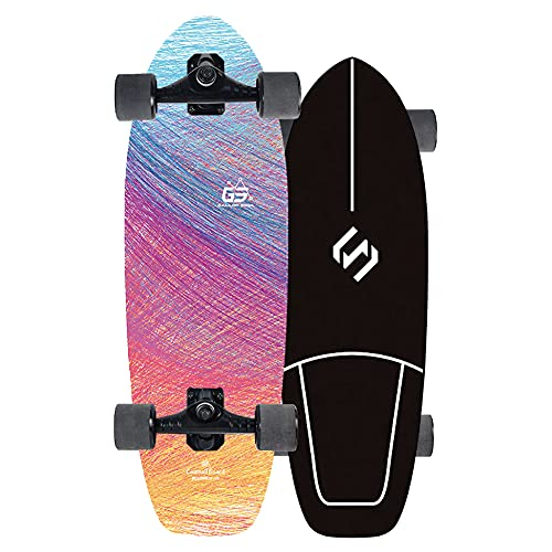 """YHNJI Completo Skateboard Cruiser Monopatin Adulto 7-Layers Maple Deck Skate con Rodamientos ABEC-9 78A Rueda PU 29.5"""" x 9"""" Pumpping Longboard para Principiantes y Calle Niños y Unisex"""