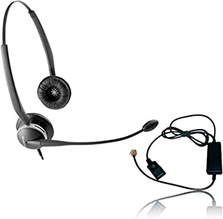 Global Teck Worldwide Jabra 2125-NCD Headset Bundle - Headset with Telephone Cable | RJ9 Phones, VoIP, IP, Digital: Cisco,...