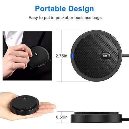 EEEKit USB-Konferenzmikrofon, 360 ° omnidirektionaler Desktop-PC Computer Laptop-Mikrofone mit stummem Plug & Play Kompatibel mit Mac OS X Windows für Videokonferenzen, Spiele, Chats, Skype