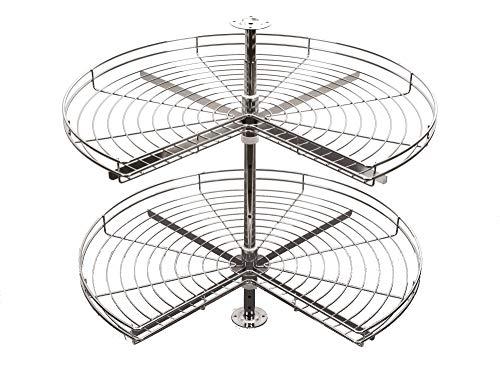 Trekvarts köksskåp 270 graders hörnkarusell (Ø 750, silver)