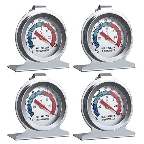 LiNKFOR 4PZ Termometro a Quadrante Grande Termometro con 4pz Sucker per Frigorifero Congelatore Professionale Termometro per Frigo -20˚C~20˚C/20°F~80°F Termometro con Quadrante Grande Alta Precisione