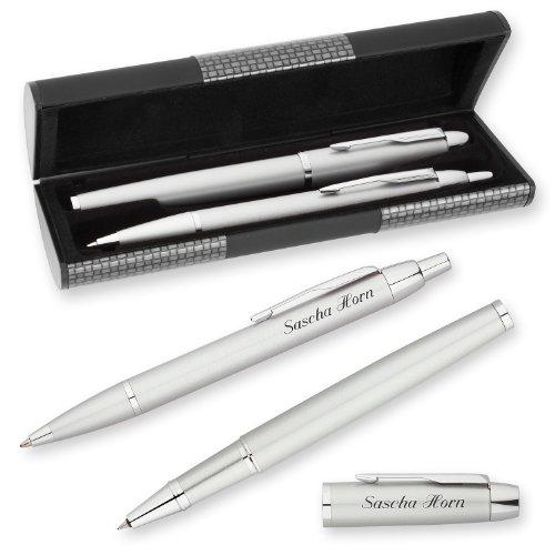 PARKER Schreibset IM Silber C.C. mit persönlicher Laser-Gravur Tintenroller und Kugelschreiber im LOGIC Geschenk-Etui