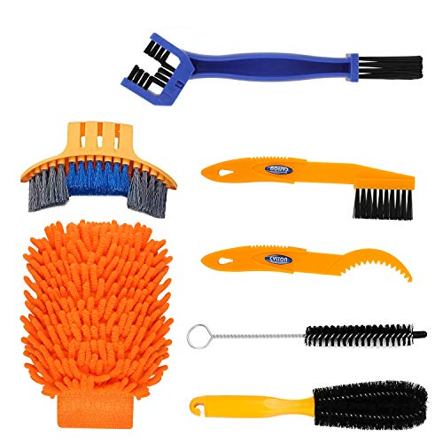 TAGVO 7pcs Bike Cleaning Tool Set, Bicycle Clean Brush Kit Bike chain cleaning tool set for Bike Chain/Tire/Sprocket Cycling Corner Stain Dirt Clean - Fit for All Bike