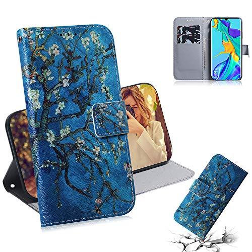 C/N DodoBuy Funda para Xiaomi Mi 10T Lite, Flip Wallet Case Cover Carcasa PU de Cuero Billetera Soporte Plegable con Ranuras Tarjetas Cierre Magnético - Azul Flor