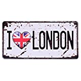 eureya I Love Londres AUTO de la matrícula coche etiqueta Home/Cafe Bar/Pub/restaurante/Exposición Wall Decor Vintage placa 6'x12'