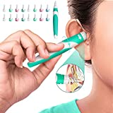 Q-Grip Ear Wax Remover, Ear Wax Removal Tool Silicone Ear Cleaner Safe Soft Q Twist Spiral Smart Reusable Q Grip Ear Picker Clean Kit Ear Wax Catcher with16 Replacement Tips for Kids Adults Humans