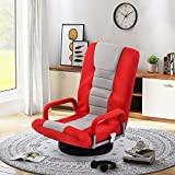 Floor Gaming Chair Adjustable 7-Position Swivel Chair Folding Sofa Lounger (Red)