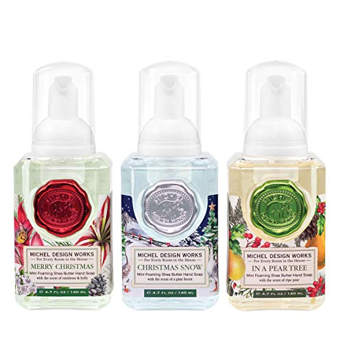 Michel Design Works Mini Foaming Soap 3-Pack Set (Merry Christmas, Christmas Snow, In a Pear Tree)