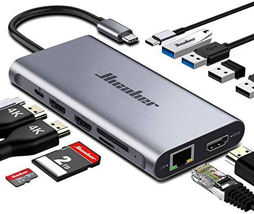 USB C Docking Station,Hicober Laptop Docking Station,12 in 1 Triple Display USB C Hub Multiport Dongle for Thunderbolt 3 Windows and MacBook (3HDMI 100W PD SD/TF Card Reader Gigabit Ethernet 4USB)
