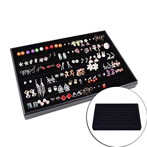 Jewellery Box Samt Schmuckschatulle Ring Ohrringe Halskette Schmuck-Organisator-Einsatz Display-Verpackung Lager- Vitrine Flach stapelbare Behälter-Halter für Ringe Ohrringe Halskette Armbänder Schmuc