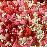 Lips and Heart Sprinkles for Baking and Decorating Cupcakes, Cakes, Cookies, and Ice Cream! Perfect for Birthday or Baby Shower I 8 oz I Pink, Red, White I Edible Party Supplies I Candy