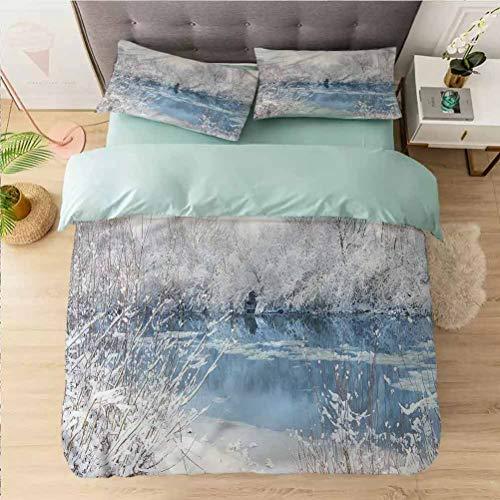 Aishare Store - Juego de funda de edredón de 3 piezas para cama king size, invierno, lago congelado y árboles nevados, funda de edredón con cierre de cremallera y 2 fundas de almohada