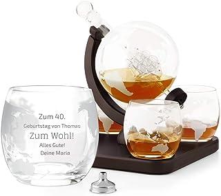 Murrano Whisky Karaffe mit Gravur - Globus mit Schiff, 850 ml - 4er Whiskygläser Set - Whisky Dekanter - Personalisiert - Zum Wohl!