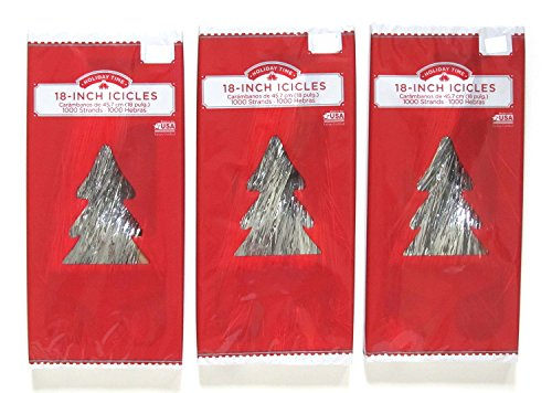 Christmas Tree Tinsel Icicles, Silver, 46cm , 1000 Strands per Box - Bundle of 3 - Holiday Tinsel
