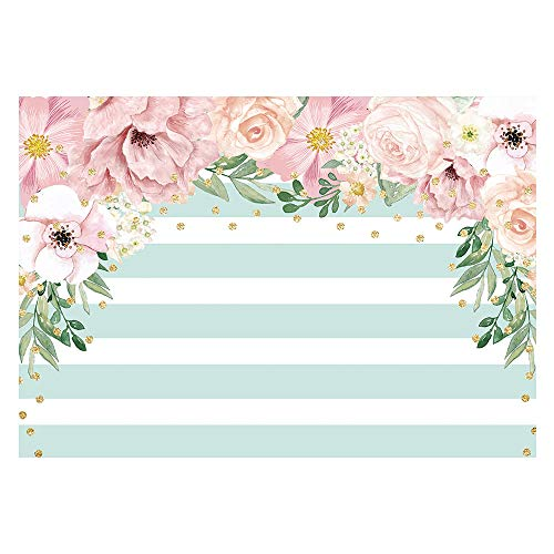 Funnytree 7X5ft Pink and Mint Green Floral Backdrop Stripes Flowers Birthday Party Photography Background Watercolor Gold Sprinkle Bridal Shower Dessert Table Banner Wedding Decorations