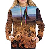 Women's Hoodies Tops,Monument Valley Arizona Three Buttes East West Merrick National Parks Photograph,Lady Fashion Casual Sweatshirt(XL)