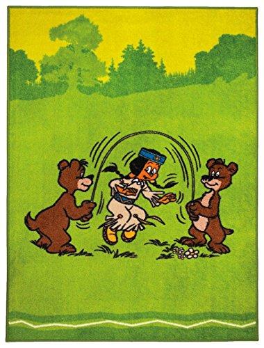 Tapis pour enfant avec Yakari/Yakari avec deux ours le Corde à sauter/Tapis de tapis tapis/Tapis pour enfants/Yakari haute/vert de qualité jeunesse Tapis/Tapis pour enfants/salon Tapis résistant beau salon Modèle Yakari/CE magnifique Tapis est disponible dans la taille 80 x 150 cm ou de 133 x 180 cm/Son Motif. Dans cette Tapis begeistert couleurs tendance Il sera pour regards dans chaque maison, vert, 80 x 150 cm