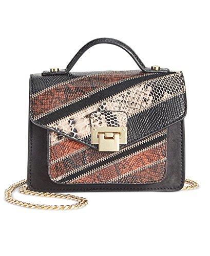 Sam Edelman Womens Kylie Leather Patchwork Crossbody Handbag Black Small