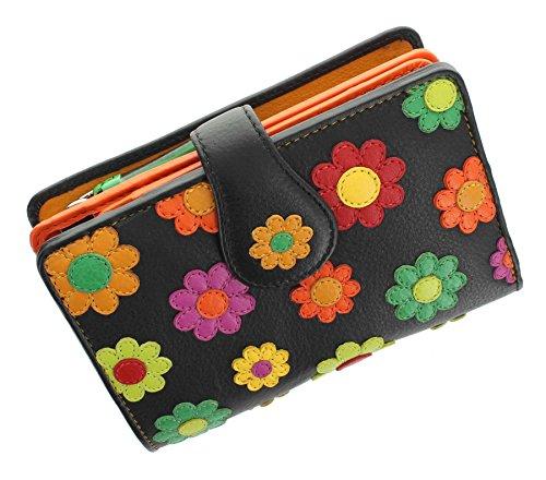 Visconti Daisy-Kollektion SPANISH Damen-Geldbörse, Leder, mit Laschenverschluss mit RFID-Schutz DS82 Schwarz
