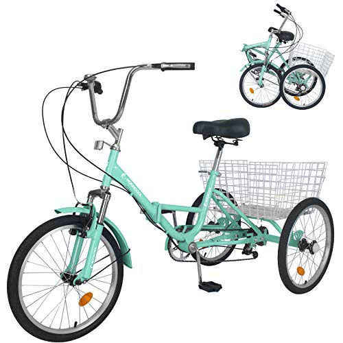 MOPHOTO Adult Folding Tricycle 7 Speed 20/24/26 Inch Adult Tricycles Three Wheel Bike Cruiser Trike with Low-Step Through Frame/Large Basket/Adjustable Seat