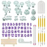 Aoafun 88pcs Fondant Sugarcraft Cake Décoration Plunger Cutters Icing Modeling Tool Kit Set avec Rolling Pin, Smoother, Embosser...